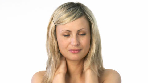 Young Woman Rubbing Her Neck stock footage