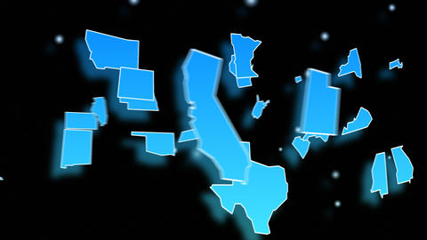Animated Map Of The USA stock footage