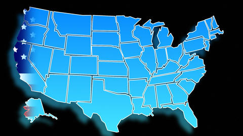 Animated Map of the USA Stock Video Footage