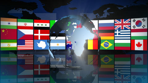 Globe with World Flags Animation