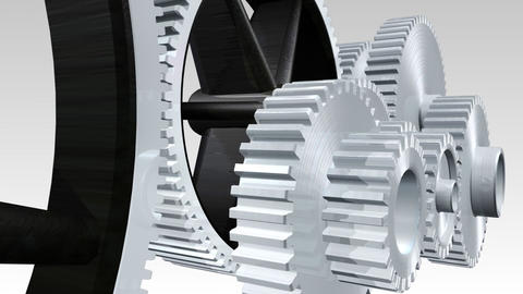 Interlocking gears in motion Animation