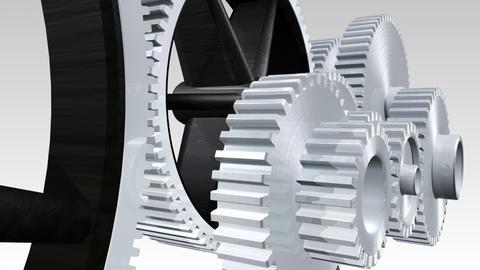 Interlocking gears in motion Animation