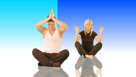 Couple meditating Footage
