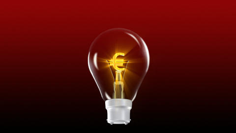 Euro in a light Bulb Stock Video Footage
