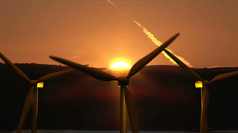 Wind Turbines moving Stock Video Footage