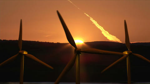 Wind Turbines moving Footage