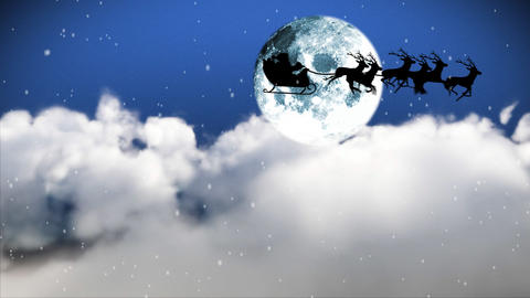 Santa Claus Flying though the sky Stock Video Footage