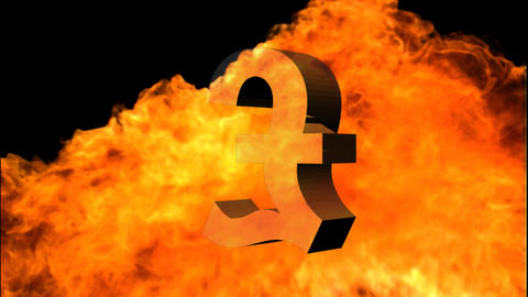 Pound sign Engulfed in Flames Footage