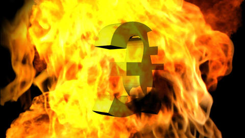 Pound sign Engulfed in Flames Stock Video Footage