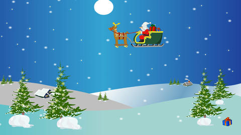Christmas animation of Santa flying in a sleigh ov CG動画素材