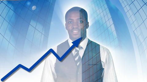 Businessman looking at a stock market Animation