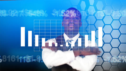 AfroAmerican businessman smiling at a stock market Stock Video Footage