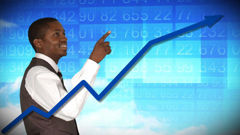 Smiling businessman looking at a stock market Animation