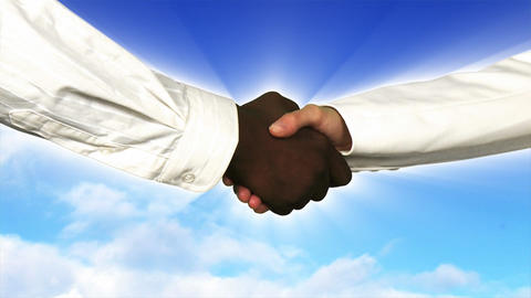 Close up of business people shaking hands Animation