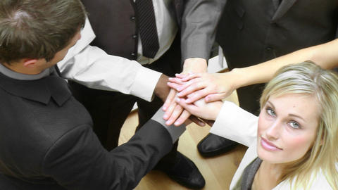 Panorama of business people with hands together Footage