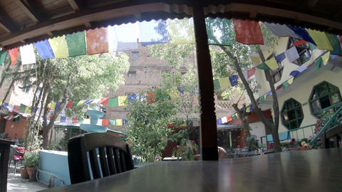 Hotel Open Air Cafe. Kathmandu. Nepal, Full HD stock footage