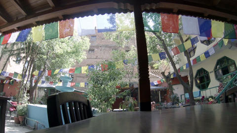Hotel open air cafe. Kathmandu. Nepal, Full HD Stock Video Footage
