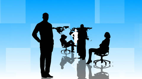 Animation of Business people silhouettes working i Stock Video Footage