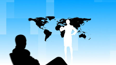 Animation of Business people silhouettes working i Animation