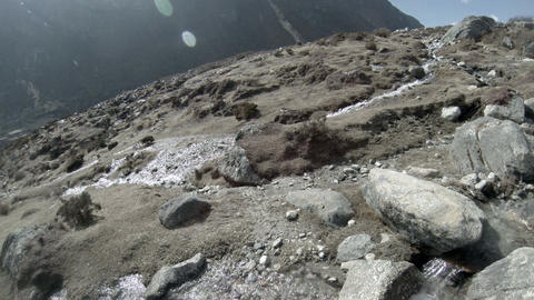 Mountain river. Melting glacier Ngozumpa, Himalaya Stock Video Footage