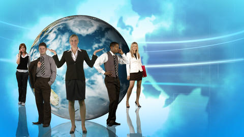Animation of business people posing in front of th Stock Video Footage