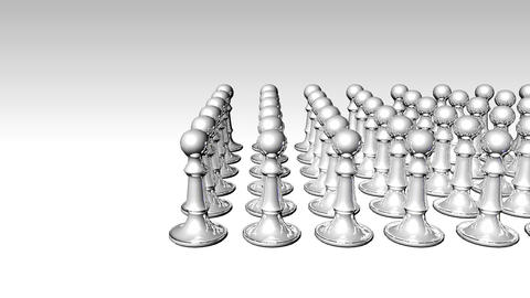 Animation of a white chess set with a blue piece i Stock Video Footage