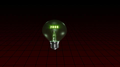Animation of a light bulb announcing the year 2010 Animation