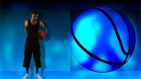 Animation of an ethnic boy playing basketball Stock Video Footage