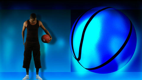 Animation of an ethnic boy playing basketball Animation