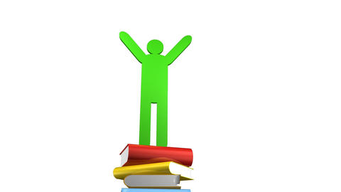 Books and a graduated person icon Animation