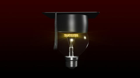 Light bulb with a graduated hat on. Concept of clever head Animation