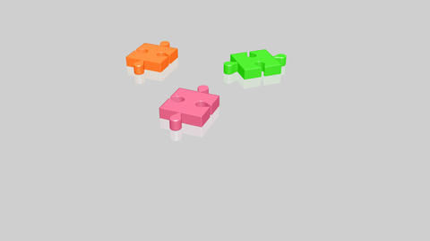 Animation of a colorful jigsaw Stock Video Footage