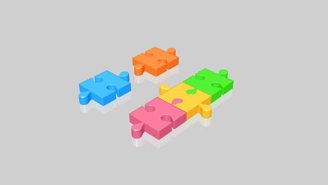 Animation of a colorful jigsaw Animation