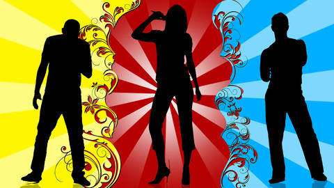 Animation of young people silhouettes singing and dancing Animation