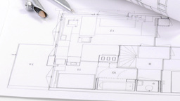 Panorama of blueprints and architecture objects Footage
