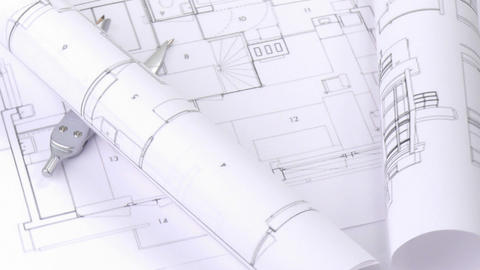 High view of plans and blueprints turning Stock Video Footage