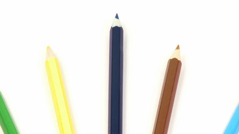 Zoom out of colourful pencils Stock Video Footage