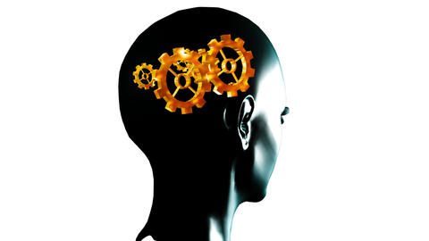 Human head with gears and cogs in motion. Concept  Animation
