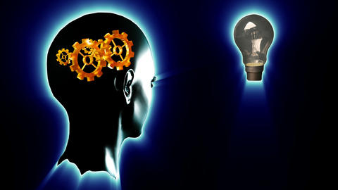 Human head with gears and cogs and a lightbulb. Concept of thinking a brilliant Animation