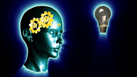 Human head with gears and cogs and a lightbulb. Concept…, Stock Animation