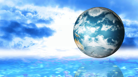 Animation of a globe spinning against sky backgrou Animation