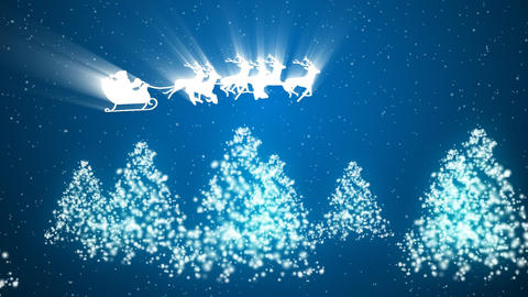 Animation of Santa Claus and reindeer flying over the trees and snow Animation