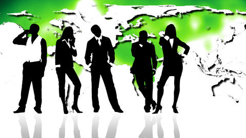 Business people silhouettes against map of world. Stock Video Footage