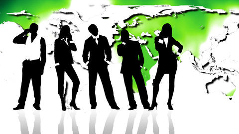 Business people silhouettes against map of world. Concept of economy and ecology Animation