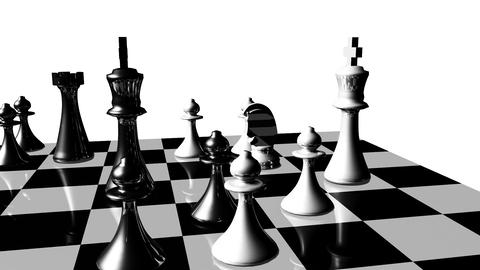 Animation of chess set in motion. Game over Animation