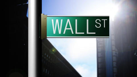 Animation of Wall Street in New York. Finance place Animation