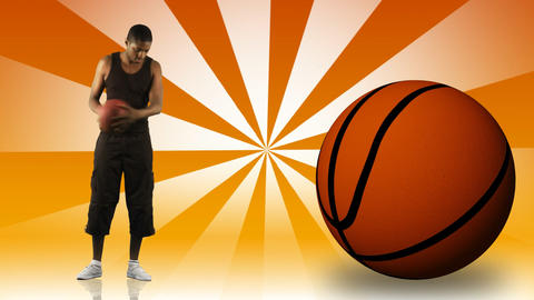Animation of an AfroAmerican boy playing basketball Animation