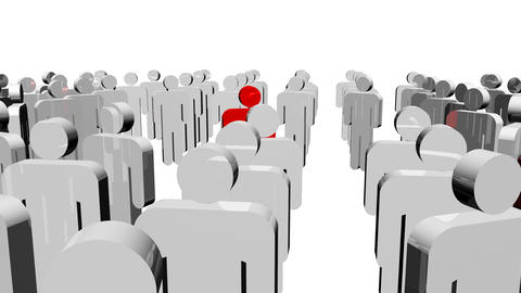 White icon people and a red one in the center. Concept of leadership Animation