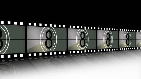 Animation of a film strip announcing a movie Animation
