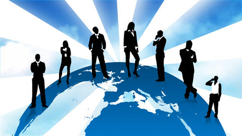 Business people silhouettes standing on the planet Stock Video Footage